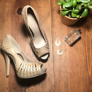 BCBG all leather platform heels. Cut-outs. 7